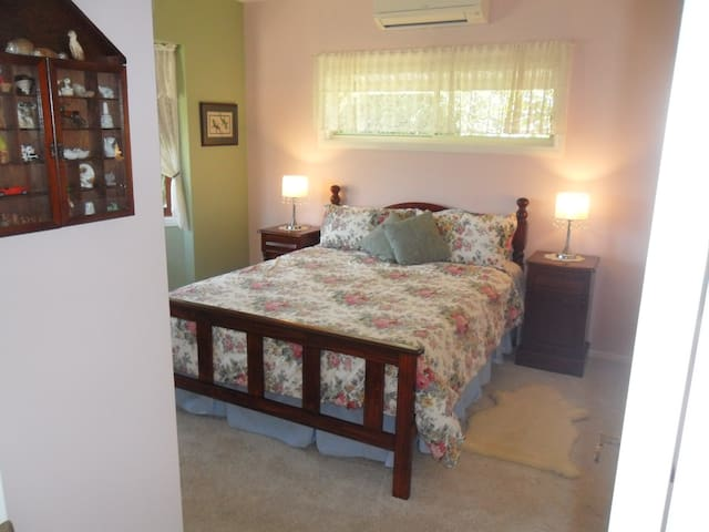Your Sleeping Room with touch lamps and queen bed