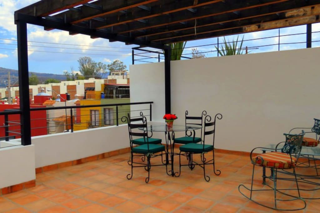 terrace upstairs with great view of town