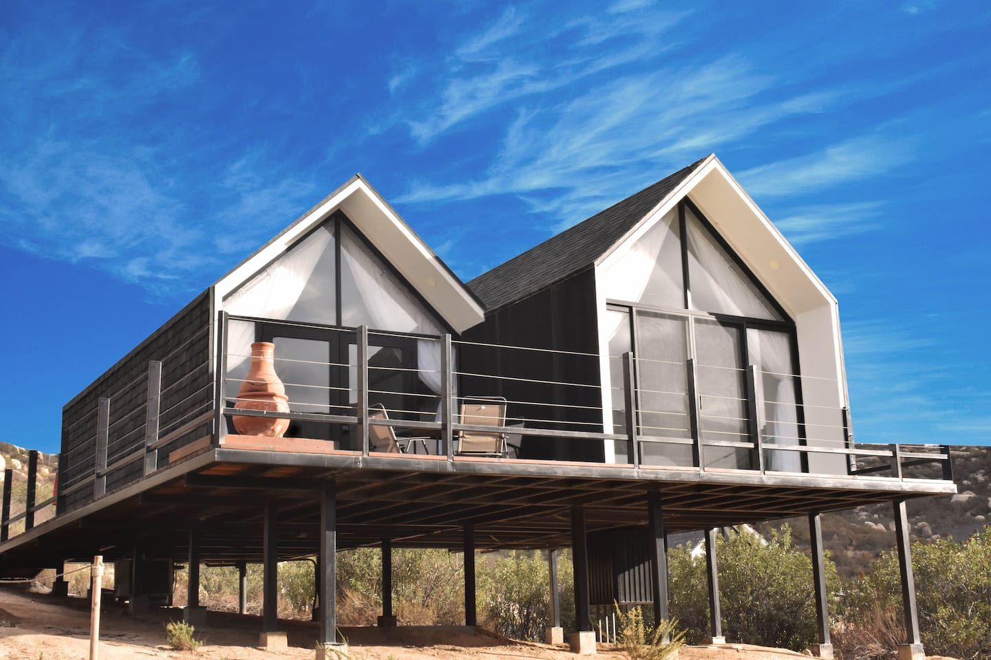 2 Bedrooms and 1 bathroom in this beautiful spacious cabin with a terrace and outside fireplace.