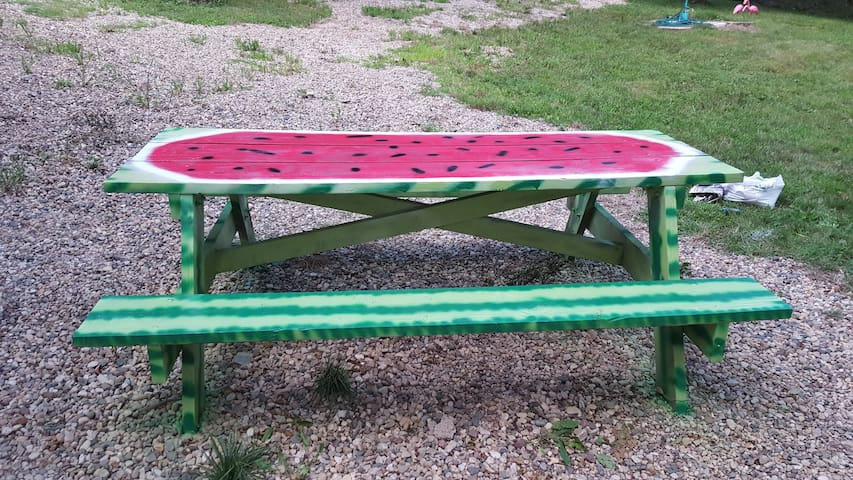 Watermelon Picnic table for guests.