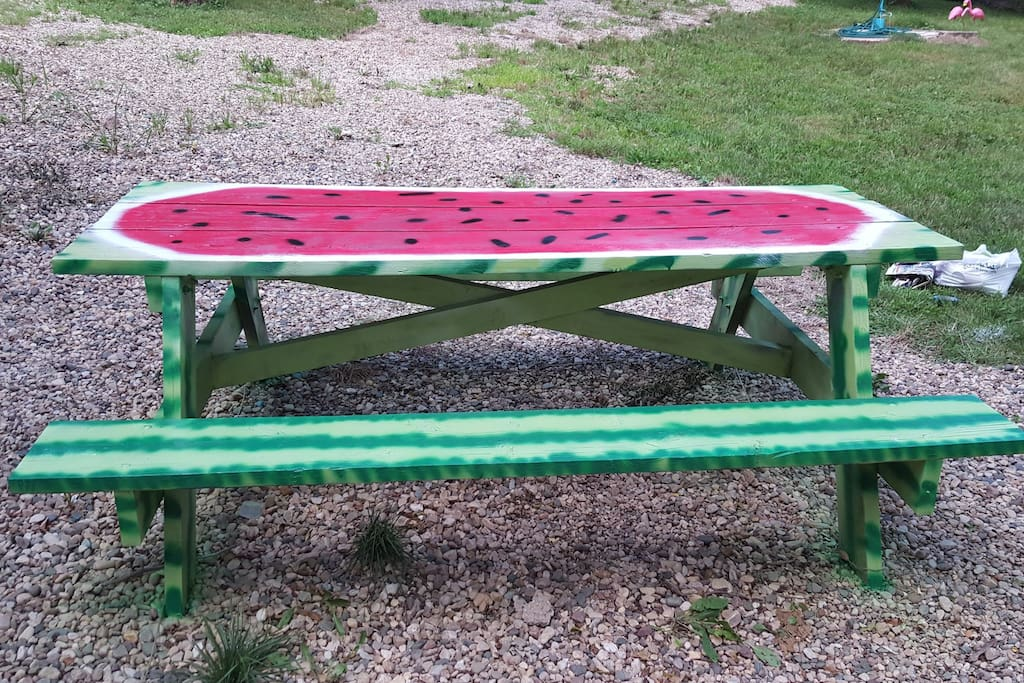 Picnic table for guests.