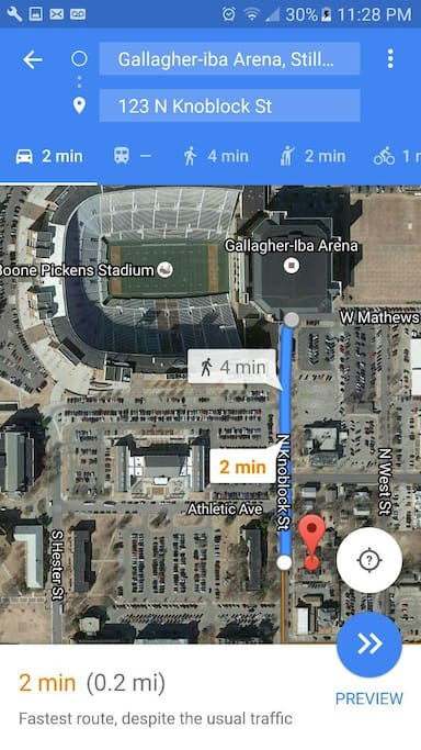 Distance and directions to the Boone Pickens Stadium and Gallagher Iba Arena.
