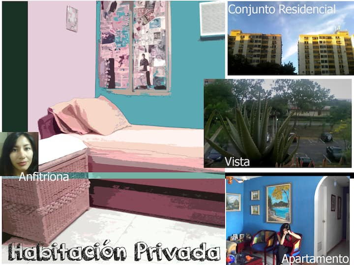 Habitación privada en apartamento, como en casa.