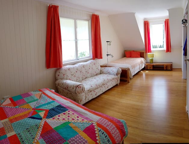 2nd bedroom with double bed & single bed upstairs.