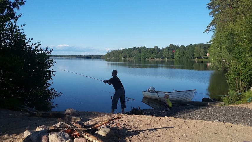 "Fishing by Lake ""Fjällen"" near Unnaryd in Halland"