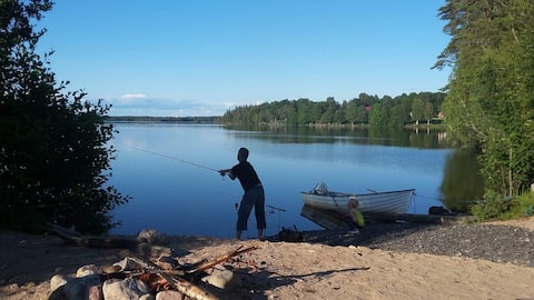 Fishing by the Lake near Unnaryd in Halland