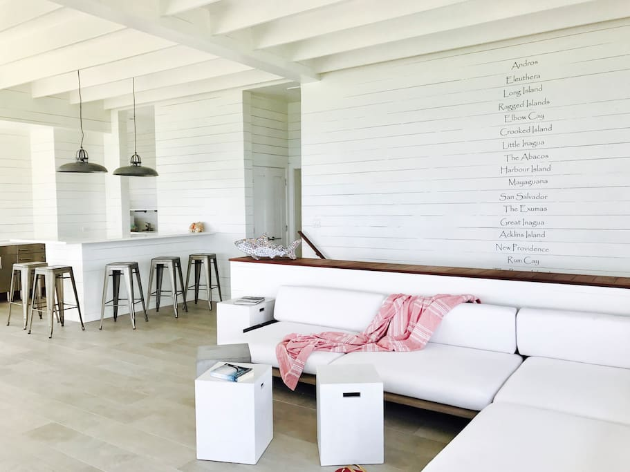 The Great Room serves as a clean and stylish sanctuary.