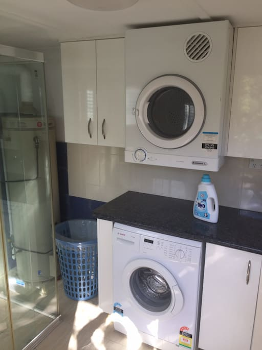Laundry with shower and second toilet