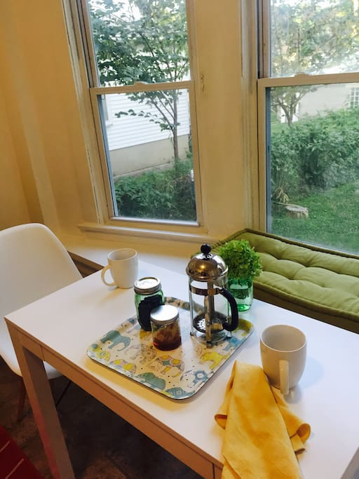 Have your coffee in the sunny kitchen. I'll supply the coffee beans from a local roaster...local honey too!