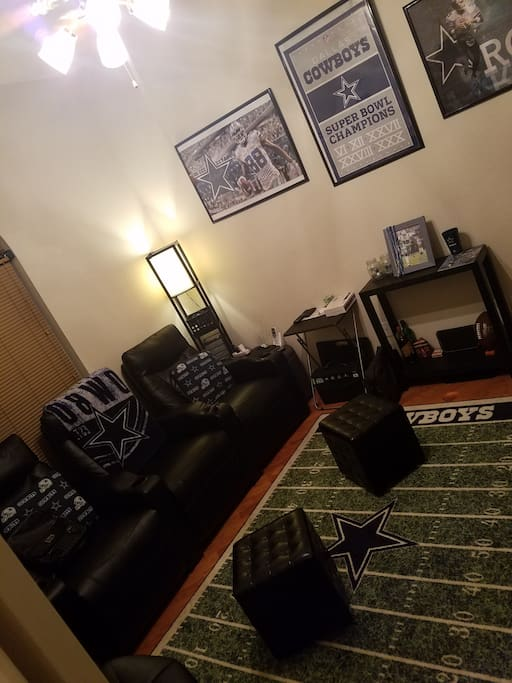 Comfortable Reclining Leather Theater Seats//70 inch HDTV// Blow Up Bed If Needed