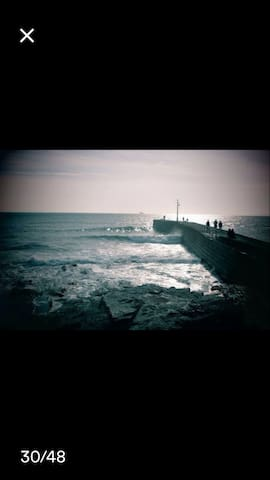 The pier Porthleven at sun down