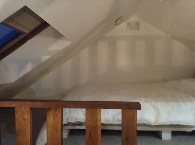Loft/ Mezzanine bedroom (up the small stairs)