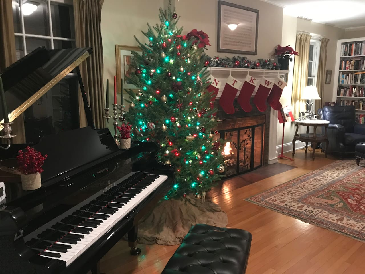 """The living room/music room (a shared space) decorated for Christmas in """"Christmas City USA"""" (Bethlehem, PA)."""