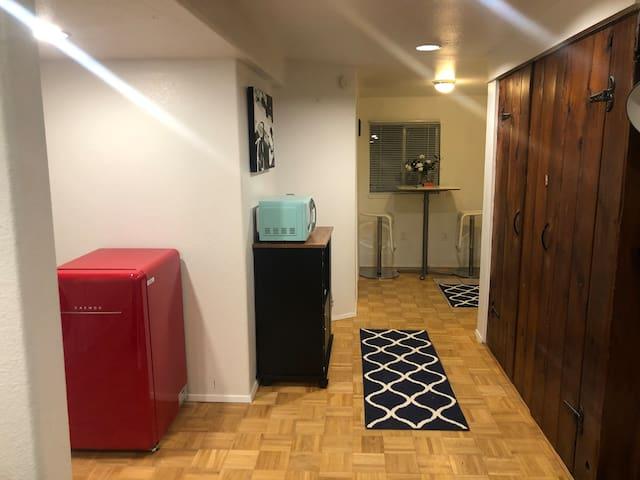 1st floor - vintage fridge, microwave