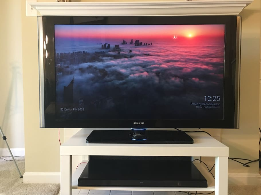 50 inch tv with sound system and chrome cast