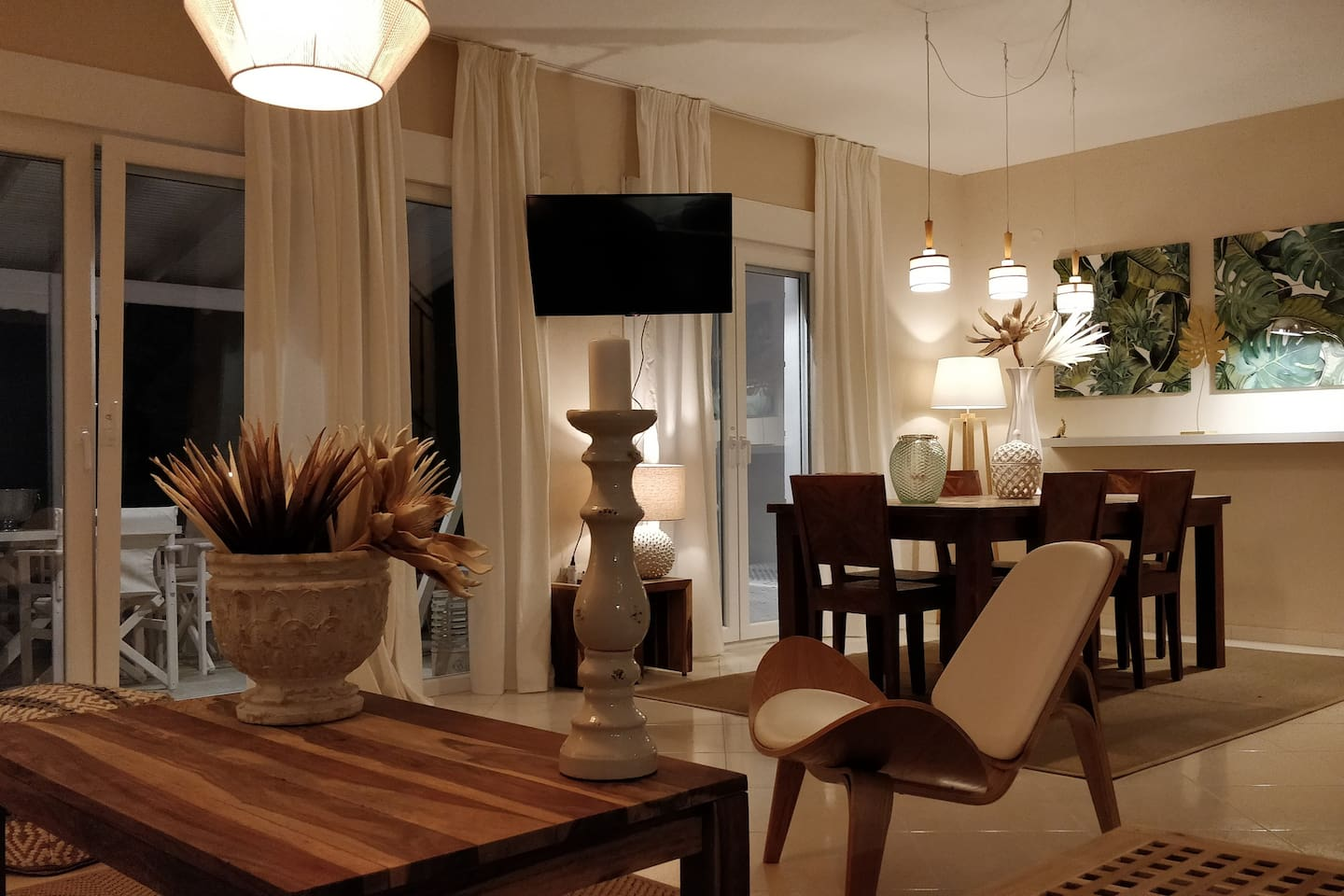 The living room and dinning