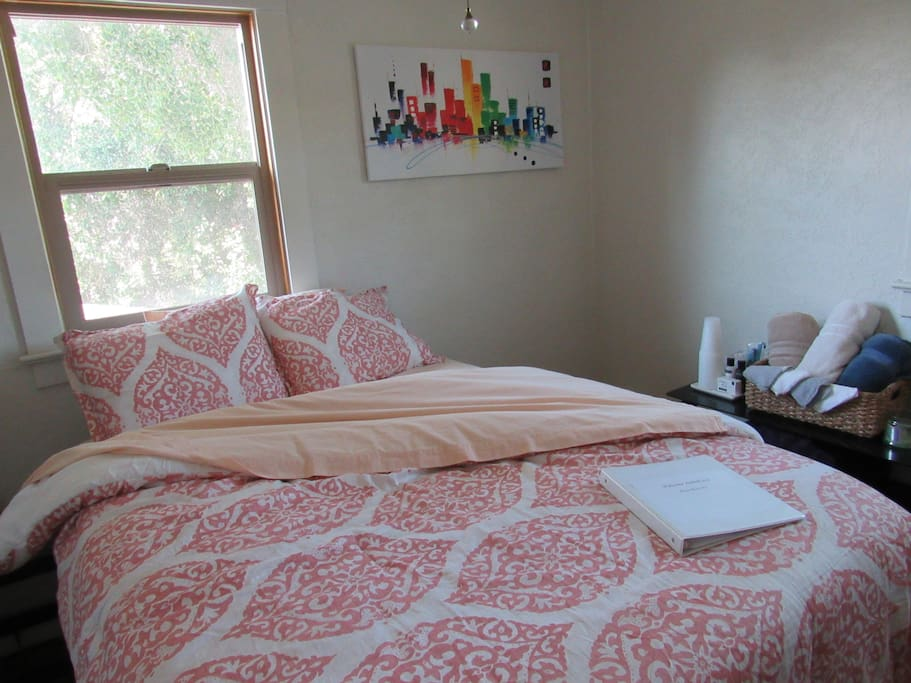 Very soft and comfy bed and an intimate room made for two. Newly updated decor and a brand new air conditioner that you can set to whatever temperature you want!