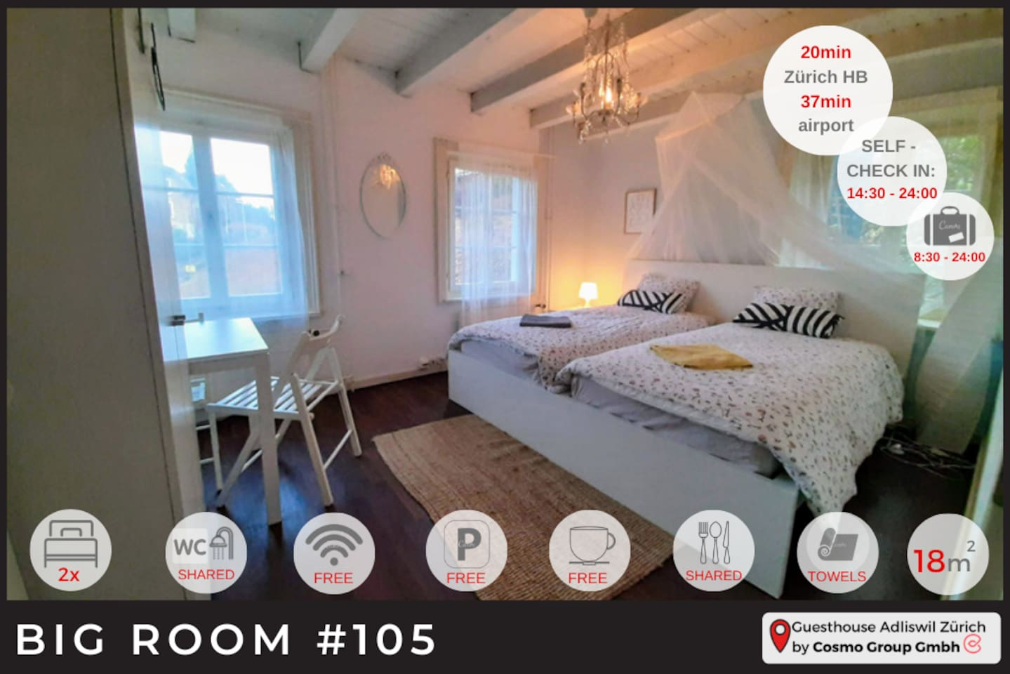 Now, this is a lovely, spacey and cosy room. If you don't love this room we cant help you. Perfect if you are planning to stay a couple of days at our guesthouse.   Don't wait too long because this room is almost always booked.  Looking forward!