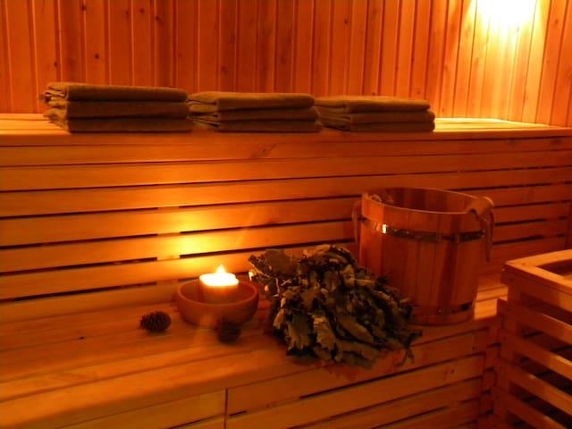 Our wood-burning sauna