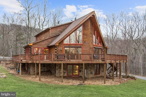 Secluded log cabin in forest shared by family