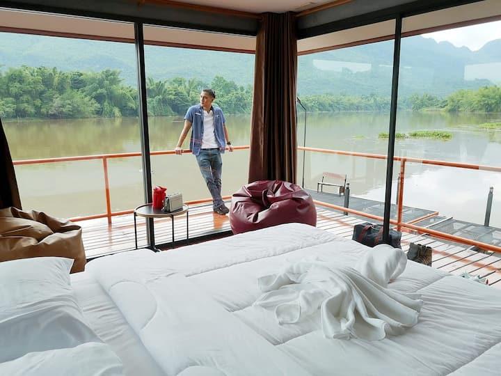บ้านริมน้ำ ติดริมแม่น้ำแควใหญ่ วิวภูเขาพาโนรามา