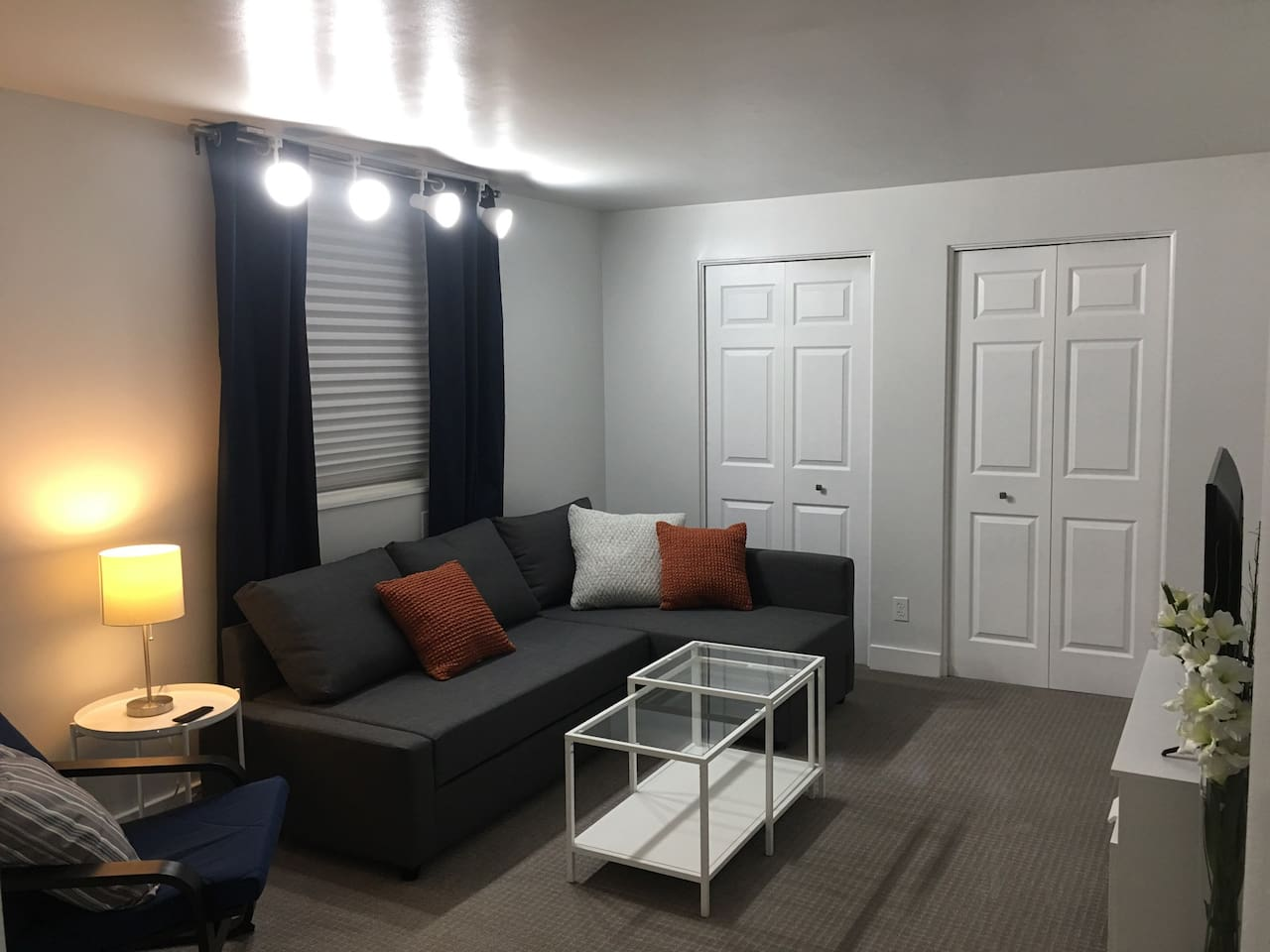 Comfy livingroom with sleeper sofa for 2. TV, wifi, Chromecast. Two fold up twin beds in the closet.