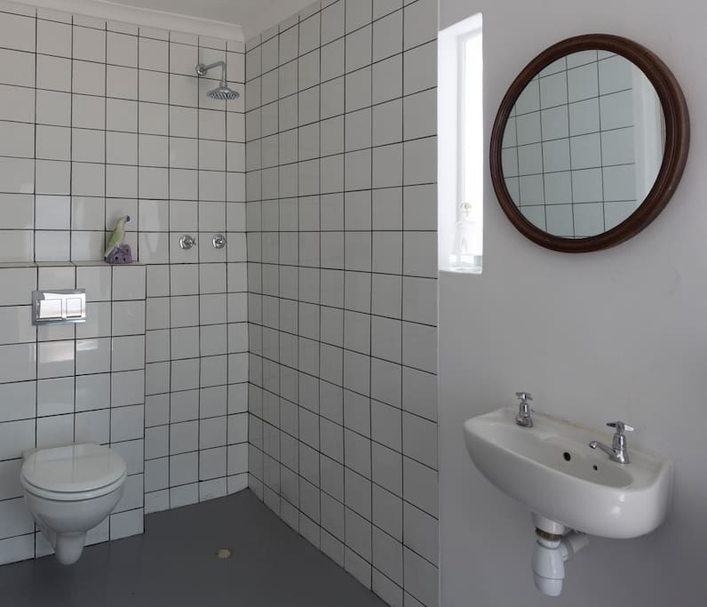 wet room/bathroom,private,shower and heated towel rail opens onto private courtyard