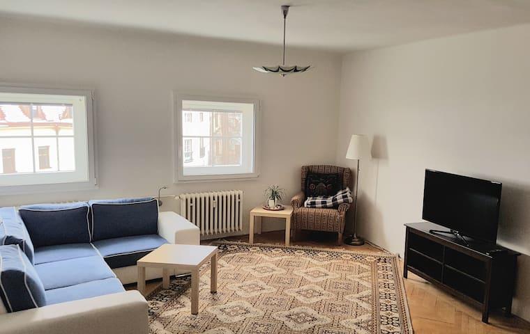 Living room with foldable sofa for two. // Obývací pokoj s rozkládací pohovkou pro dva.