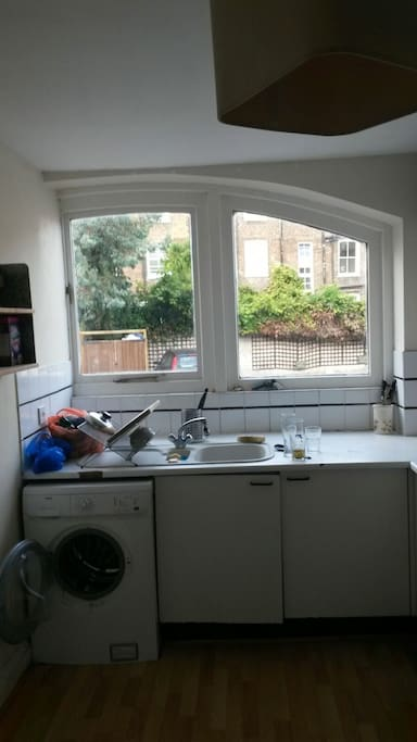 the kitchen with washing machine