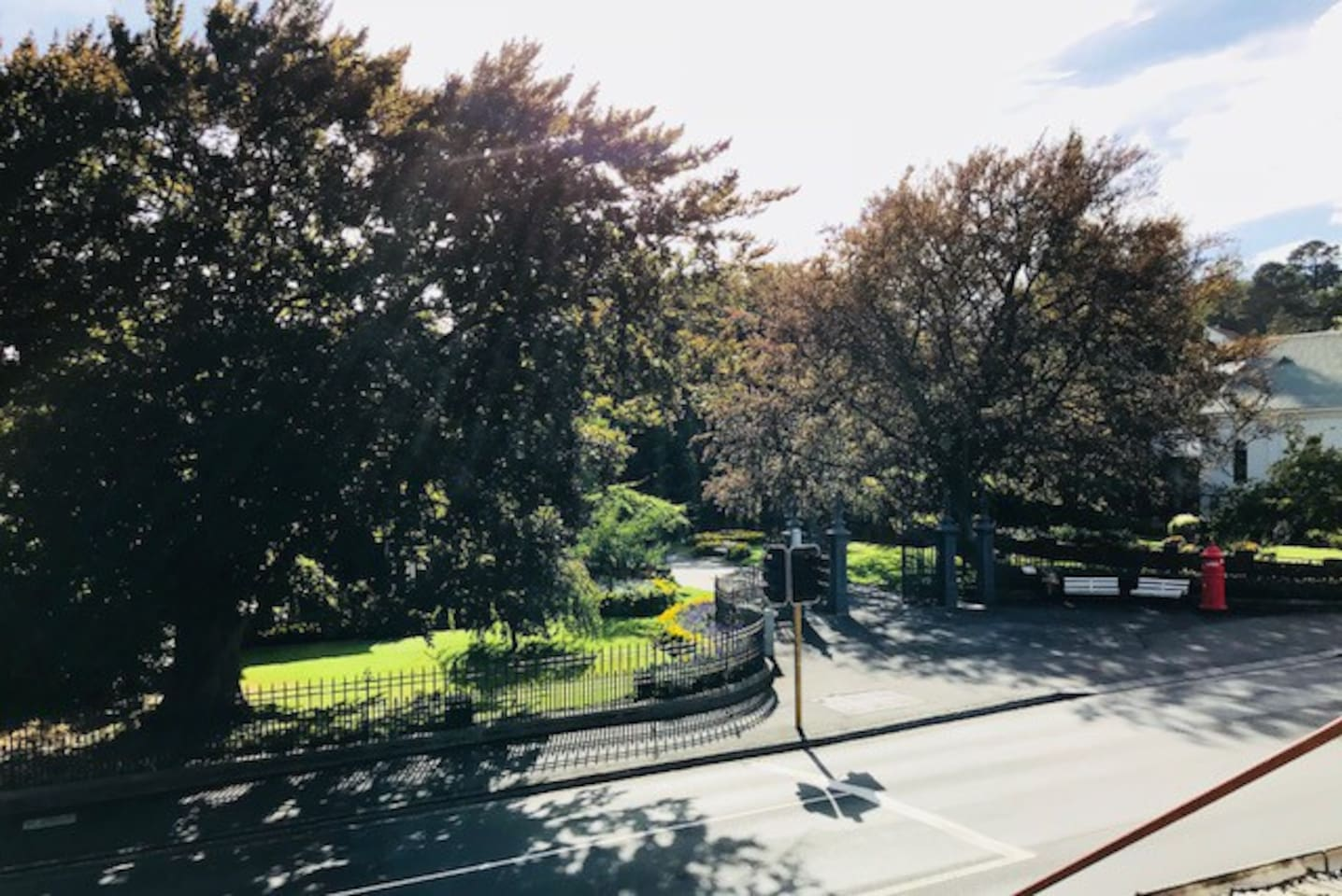 View of the entrance to Launceston's beautiful City Park from the Apartment
