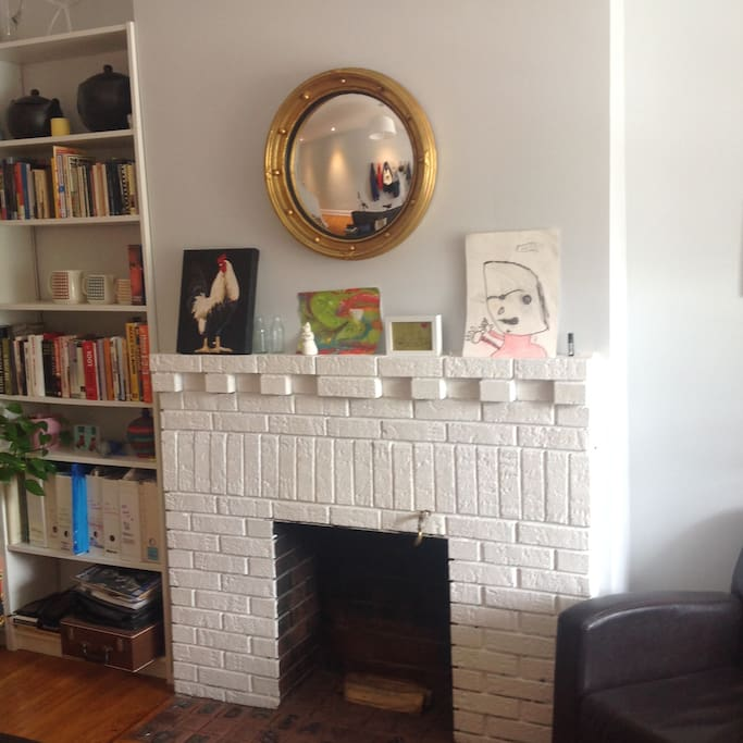 fireplace and art