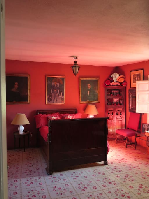 """""""Red Room"""" with 1820's double bed, balcony and considerable space, stereo, and so on."""