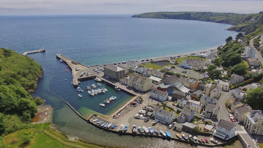 Laxey Beach ariel view by Liam Millar (we are second building on Prom looking out to sea next to large stone building)
