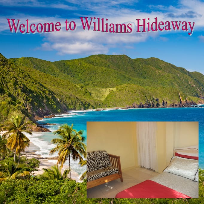 Williams Hideaway is going down hill facing the green mountain.