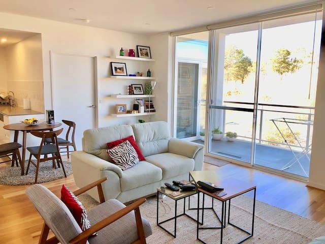 Living space facing balcony
