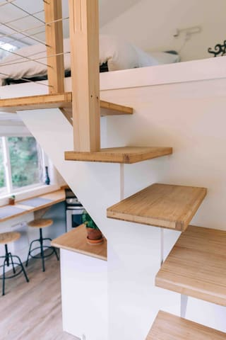 Stairs to the sleeping loft.