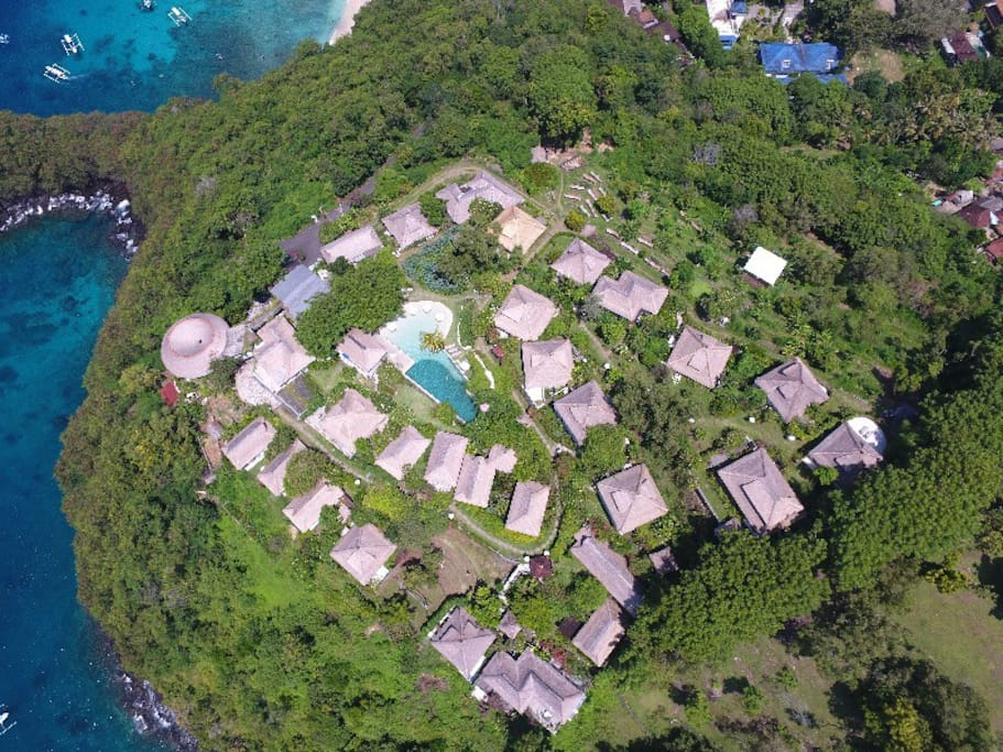 Aerial view of Bloo Lagoon Eco Village