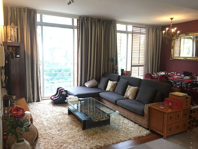 Comfortable bedroom in classy apartment.