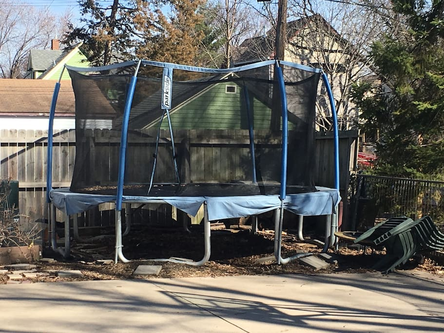 Basketball court and trampoline!