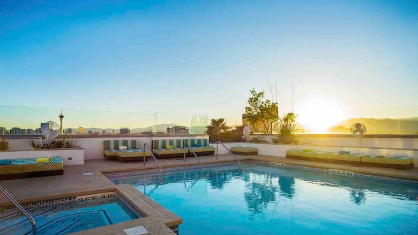 Large two bedroom high-rise in the heart of Vegas!