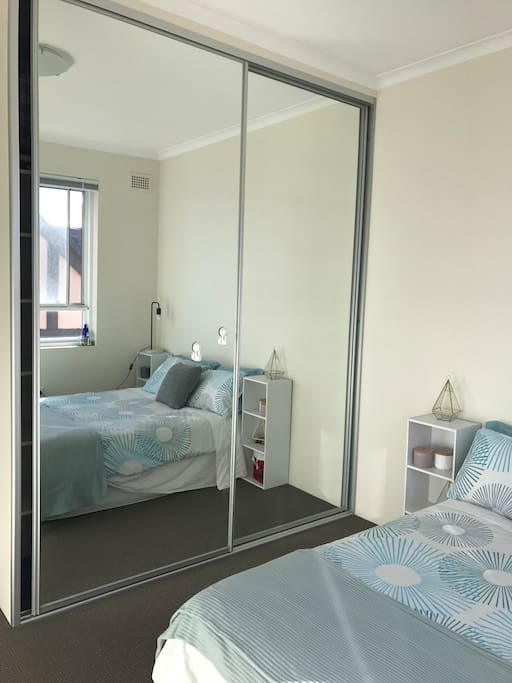 Full sized mirrors and plenty of storage space