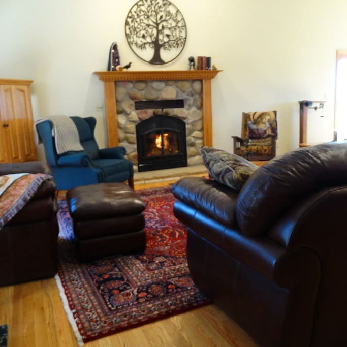 Common area with fire place and TV