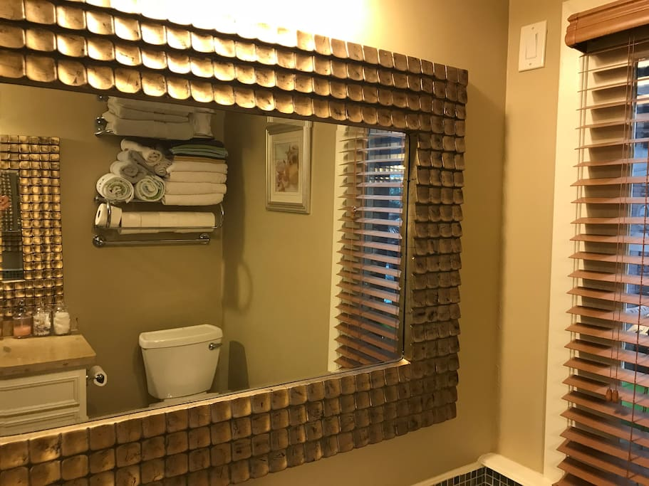 Bathroom has separate shower and bathtub