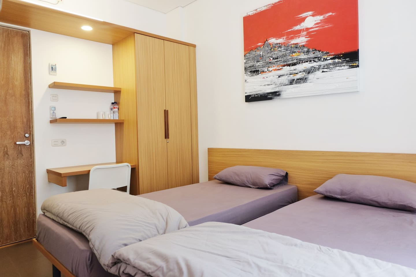 The space is 3,5m x 3,5 m, best accomodates 2 persons. Bed sheets are always changed after each check out. Basement parking is available fot guest. Inside the room: 1. One air conditioned bedroom with a bed for 2 persons. 2. One bathroom with water heater, shampoo, soap, and towel. 3. Please bring your own toothbrush and slipper. 4. TV with local and international channels. 5. There are many minimarkets near Aristo Residence, you can get anything you need there