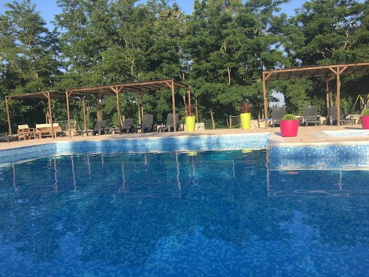Superb gite on idyllic complex, restaurant, pool
