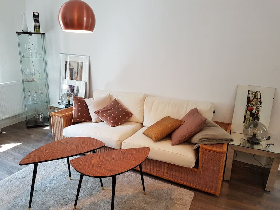 with its comfortable sofa,
