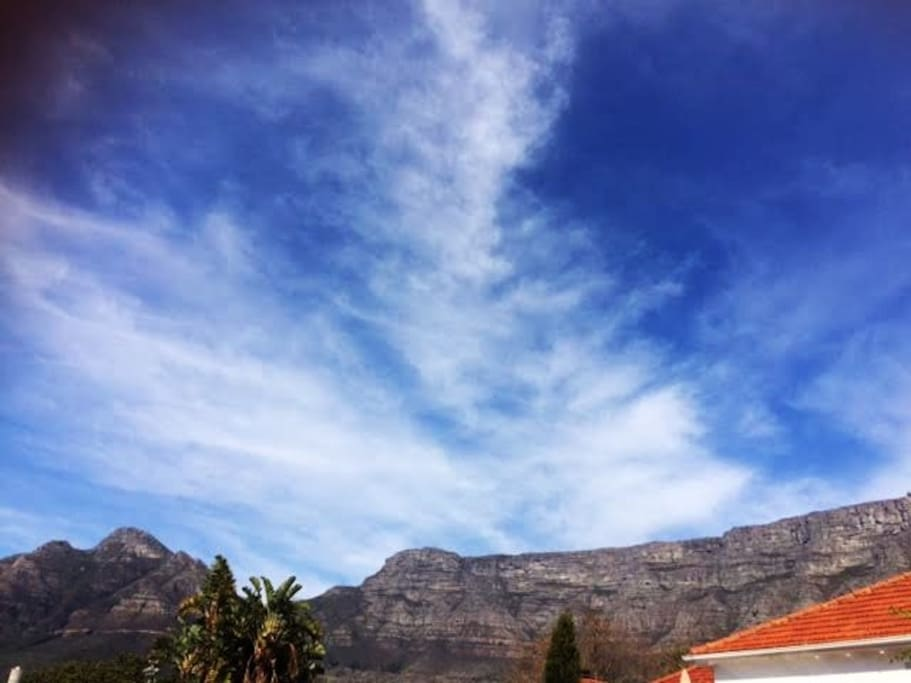 The view of Table Mountain from lounge and bedroom windows.
