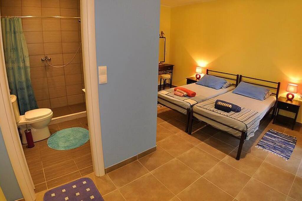 Studio two single beds