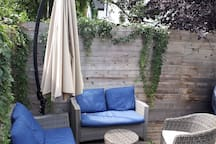 outdoor lounging area