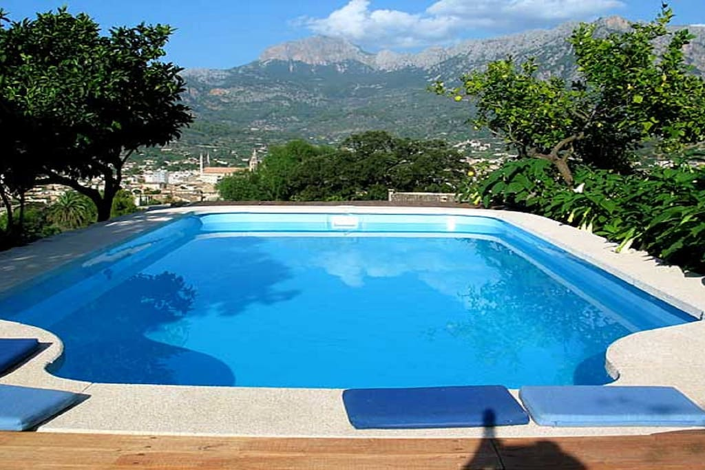 The swimming pool overlooks the town of Soller and the Tramontana mountain range - A UNESCO HERITAGE SITE